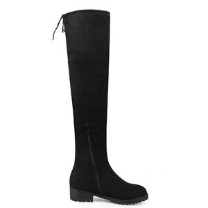 Image 5 - 탄성 허벅지 높은 부츠 여성 패션 겨울 부츠 여성 무릎 부츠 위로 스트레칭 낮은 뒤꿈치 캐주얼 녹색 검은 신발 여자
