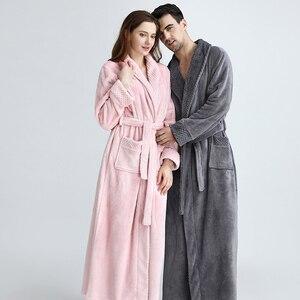 Image 1 - Extra Long Plus Size Winter Warm Coral Fleece Bathrobe Women Men Flannel Dobby Kimono Bath Robe Bridesmaid Dressing Gown Wedding