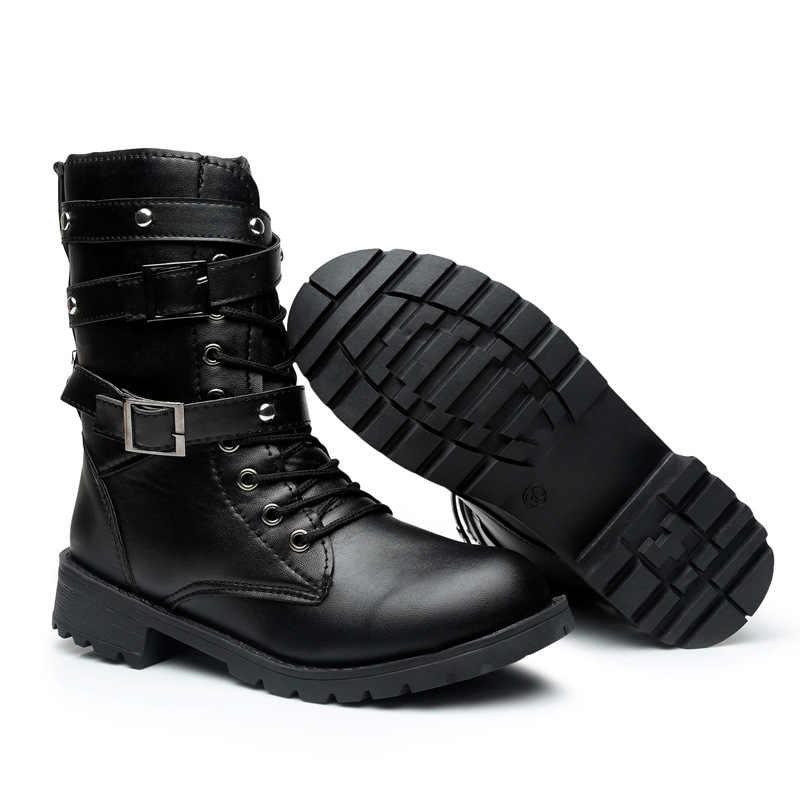 2019 Yeni Toka Kış Motosiklet Botları Kadın İngiliz Tarzı yarım çizmeler Gotik Punk Düşük Topuk bileğe kadar bot Kadın Ayakkabı Artı Boyutu 42