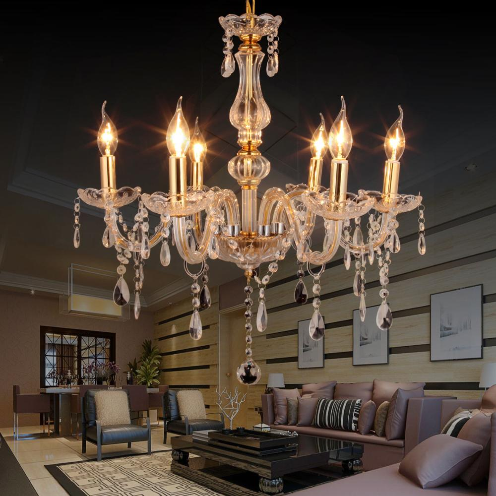Yonntech 6 Lights Crystal Pendant Ceiling Light Modern Light Chandelier