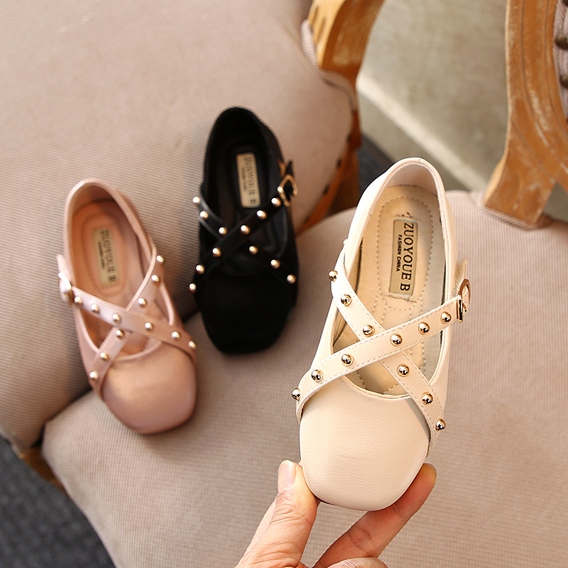 Girls Shoes Rivets Cross Laces Small Leather Shoes 2020 Spring New Children's Single Shoes Soft Soles Noble Princess Shoes