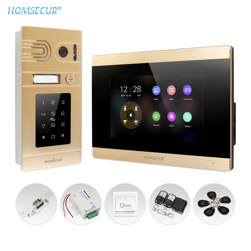 HOMSECUR 4 Wire Hands-free AHD Video&Audio Home Intercom With Outdoor Monitoring Password Keyfob Unlock BC071HD-G+BM715HD-G