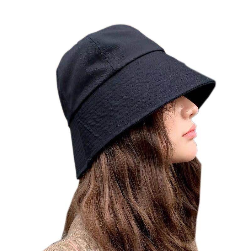 Retro Women Bucket Hats Japan And Korea Street Style Fisherman Cap Ladies Summer Big Visor Sun Hat Black Bucket Cap