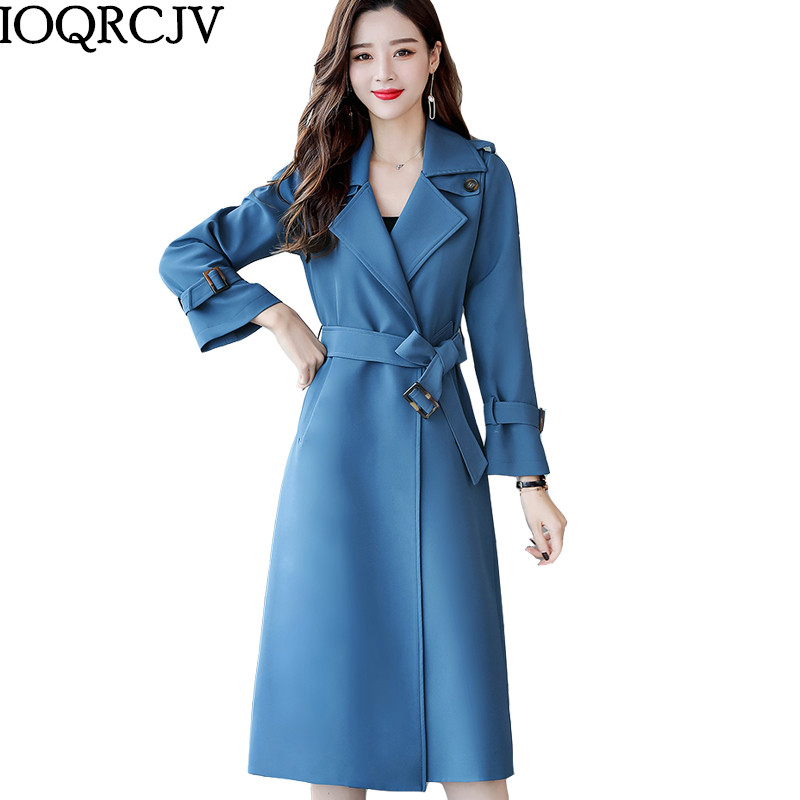 2019 New Spring Autumn   Trench   Coat Casual Women's Long Loose Outerwear Fashion with belt Windbreaker Female high quality M252