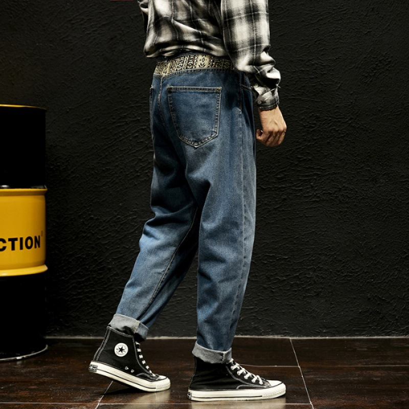 Pendant Sense Wide-Leg Jeans Men Popular Brand Workwear Capri Loose Straight Dad Pants Men's Korean-style Trend