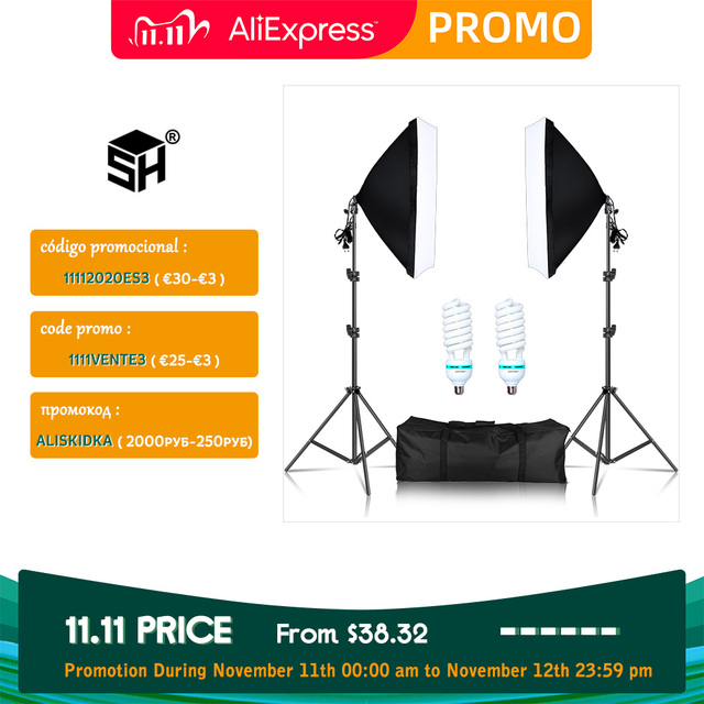 Photography Softbox Lighting Kit 2 PCS E27 LED Photo Studio Camera Light Box Equipment 2 Soft Box & Light Stand with Carry Bag