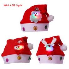 LED Light Christmas Hat Cartoon Santa Claus/Elk/Snowman Xmas Cap for Adult Kids