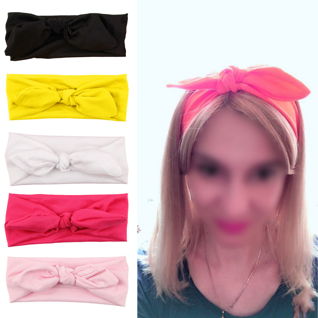 Women Fashion Elastic Stretch Plain Rabbit Bow Style Hair Band Headband Turban