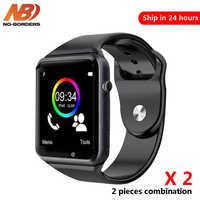 2 stück A1 Armbanduhr Bluetooth Smart Uhr Schrittzähler Mit SIM Kamera Smartwatch für Android PK iwo 8 DZ09 uhren