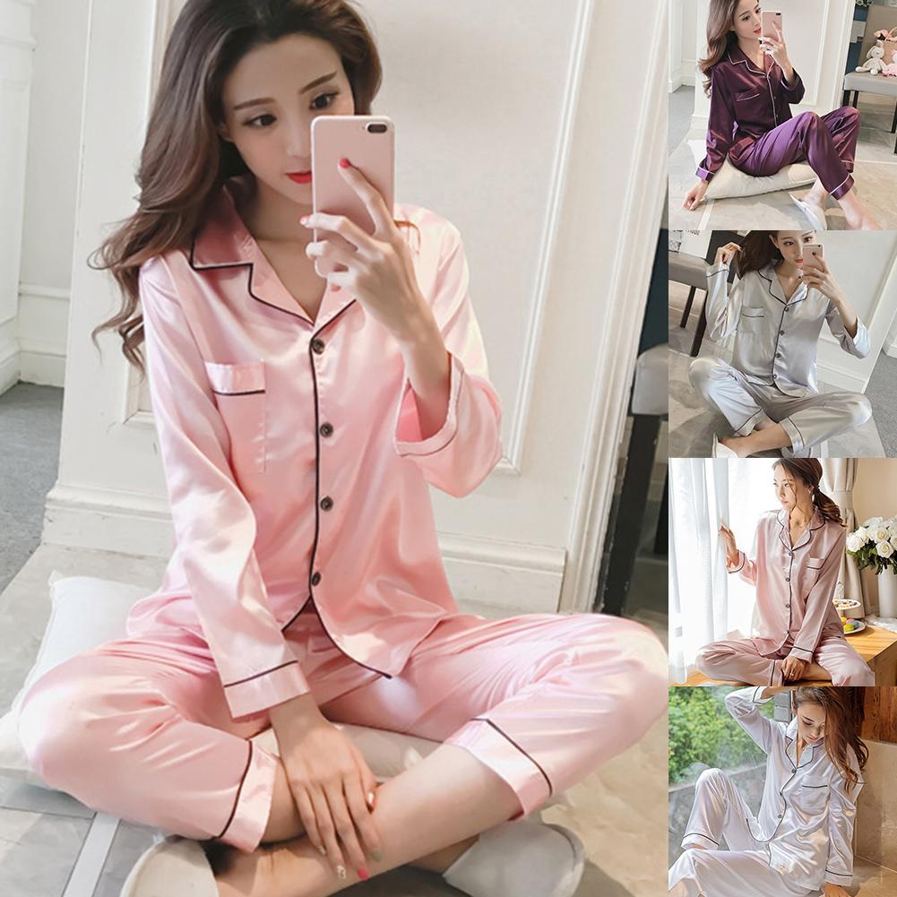 Large Size Ladies Long-sleeved Pijama Set  Long Sleeve Sleepwear  Casual Contrast Color Pocket Lapel Button Cardigan Homewear