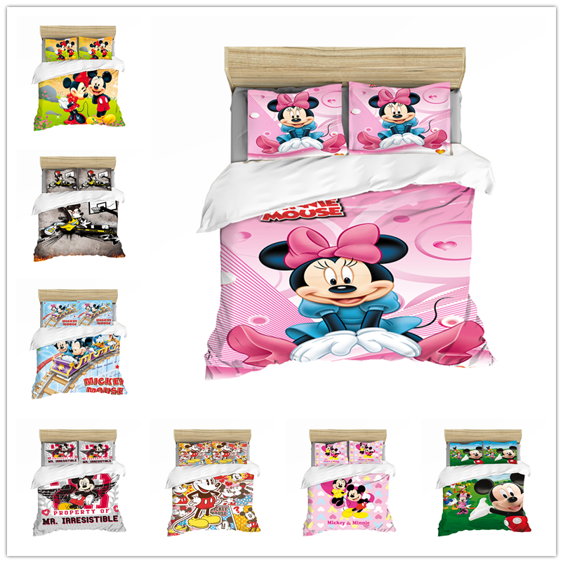 Disney Cartoon Bedding Set Mickey Minnie Duvet Cover  Queen King Size White Soft Home Textile Student Child Couple Bed Set