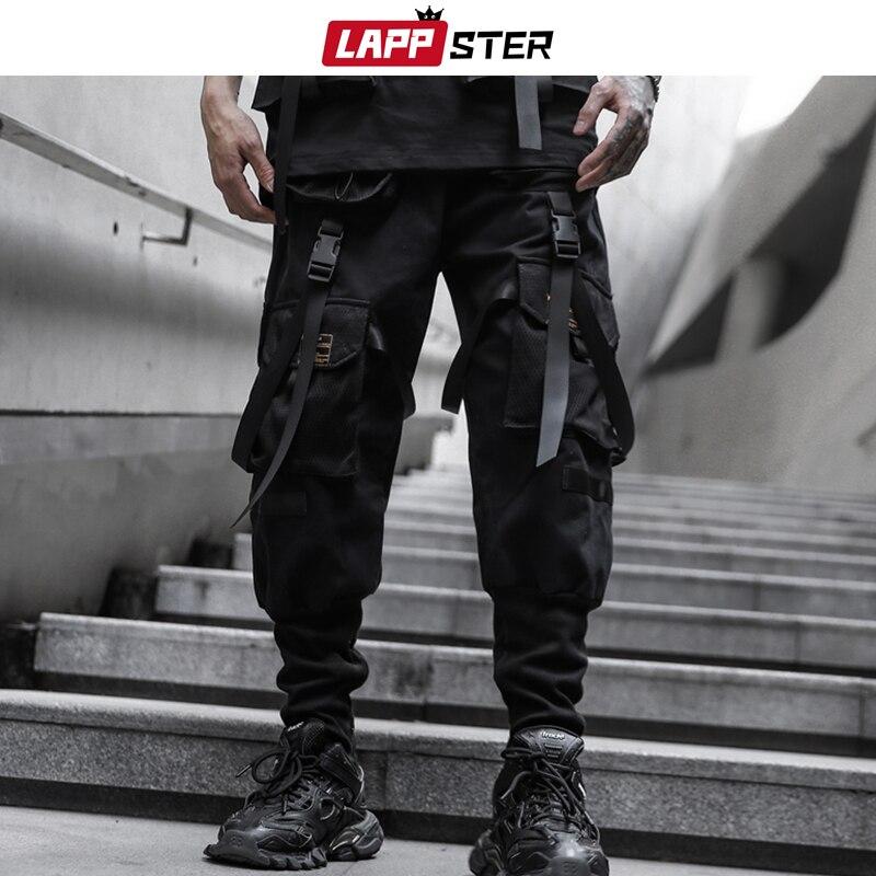 LAPPSTER Men High Streetwear Cargo Pants 2020 Overalls Men Baggy Hip Hop Sweatpants Male Harajuku Tactical Pants Black Trousers