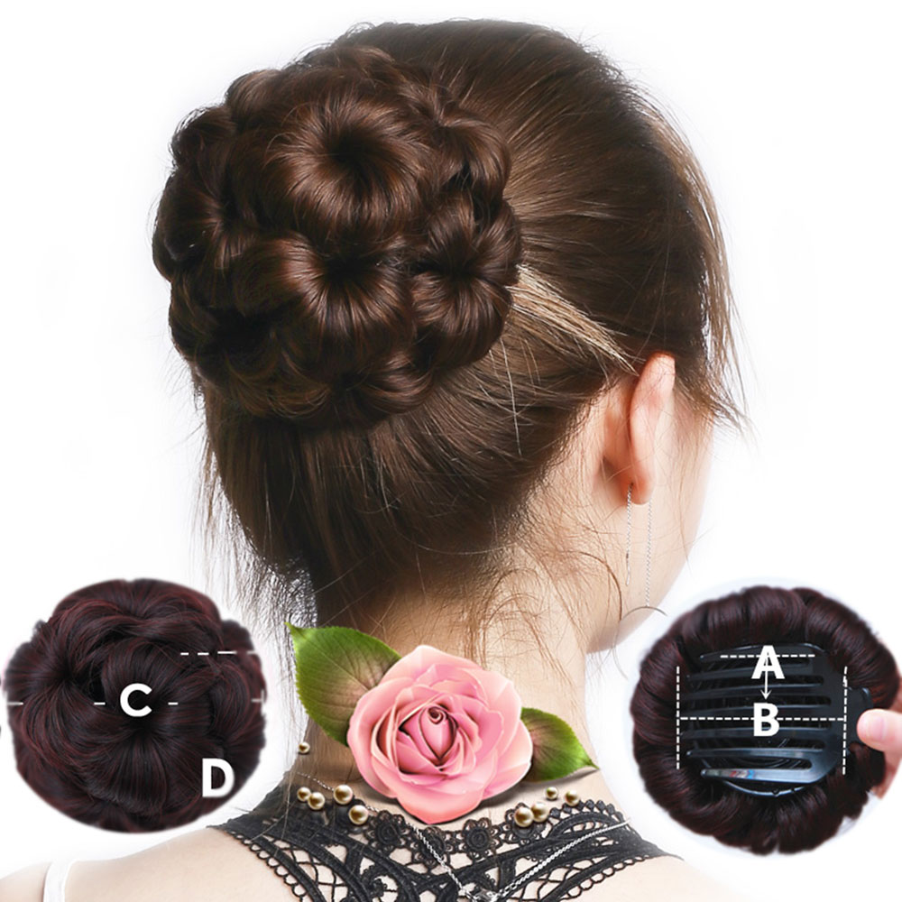 Allaosify Women Braided Chignon Hair Clip In Hairpiece Extensions Bun For Bride Synthetic Hair Buns High Temperature Fiber Black