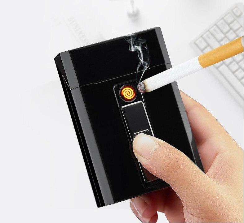 Новый 1 шт. металлический чехол для сигарет с электрической зажигалкой USB Перезаряжаемый для 20 шт. сигарет King Size водонепроницаемый DH-9009