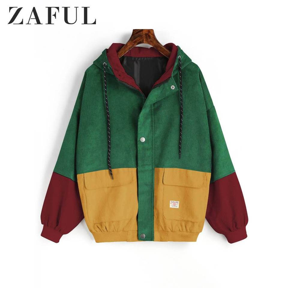 ZAFUL Womens Color Block Hooded Corduroy Jacket Snap Button/ Loose/ Fasion Coat