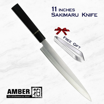 AMBER 10 inch Octagonal Ebony Wood Handle AUS-10 High Carbon Steel Yanagiba Knife Stainless Steel Kitchen Chef Knife