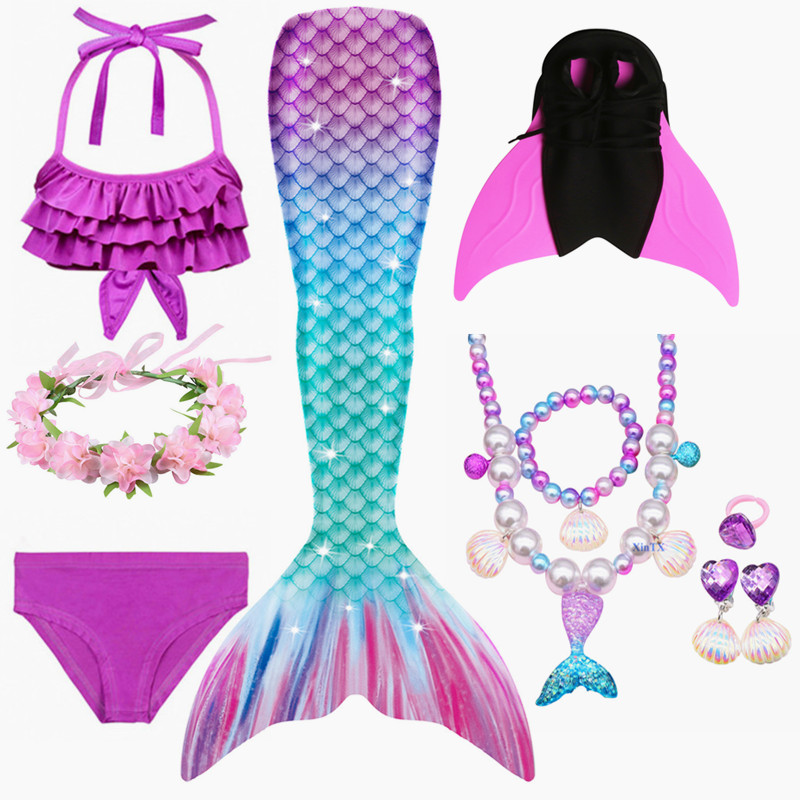 Clearance SaleMermaid Swimsuits Flipper Beach-Wear Girls Monofin Fancy Kids Summer New-Arrival