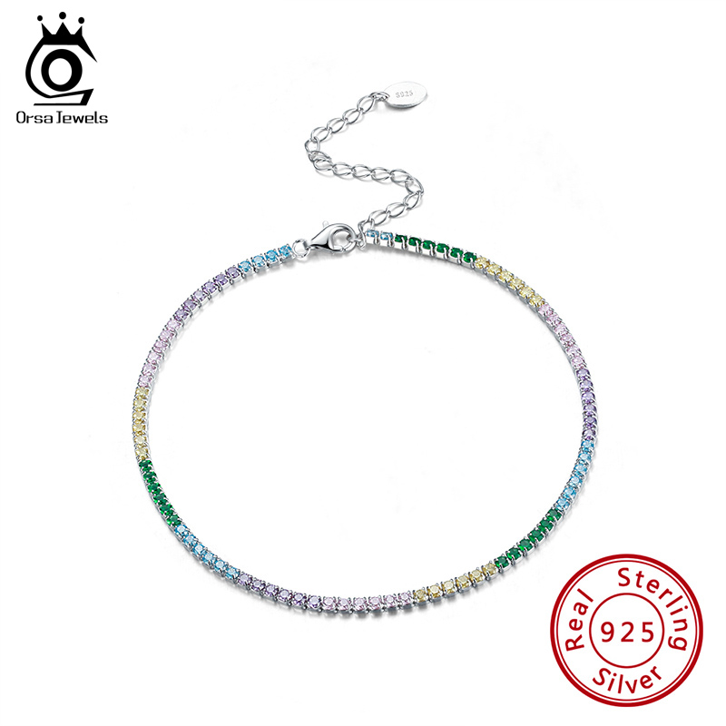 ORSA JEWELS 925 Sterling Silver Tennis Anklet Rainbow Colors AAAA Zirconia Full Paved Anklet for Girls Woman Ankle Chain SA04