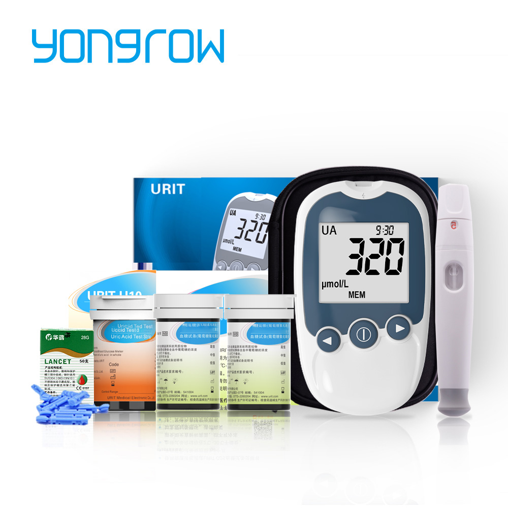 Yongrow медицинский 2в1 измеритель уровня глюкозы в мочевой кислоте и крови для тестирования диабета и подагры монитор с устройством и тест-пол...
