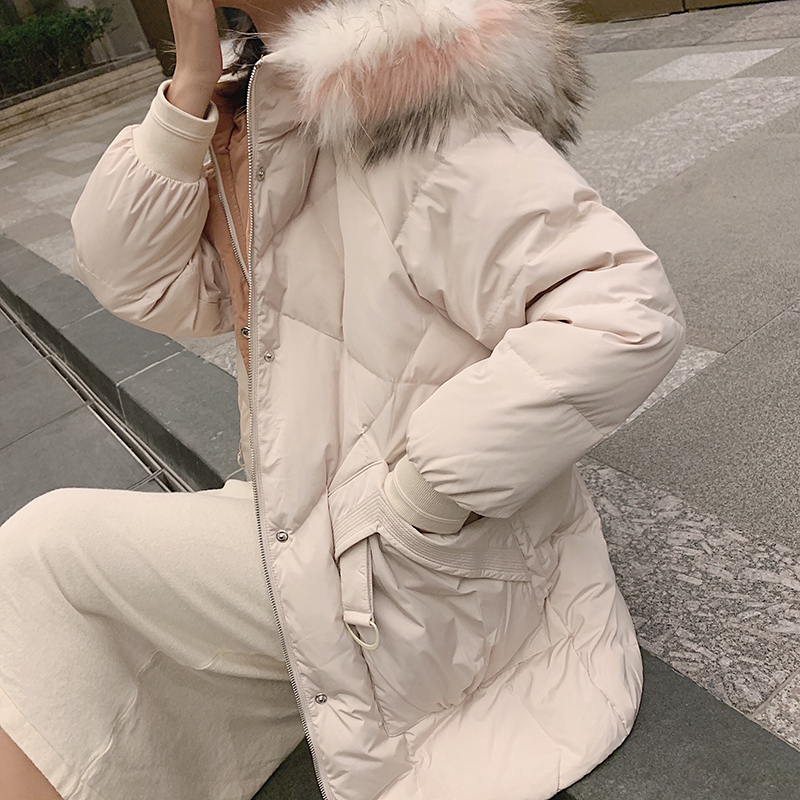 MISHOW 90% White Duck Down Woman Winter Warm Coat Fur Collar Hooded Mid Long Casual Female Fashion Thick Down Jacket  MX19D8879