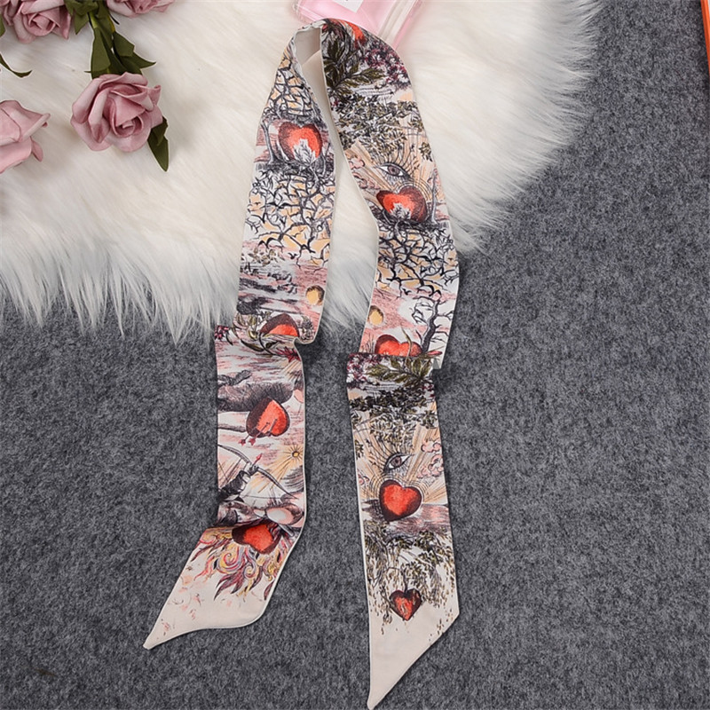 Brutal Journey Of The Heart Brand Skinny Scarf Women Bag Scarves 2020 New Silk Scarf For Ladies Foulard Wrist Towel Neckerchief