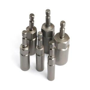 Image 5 - 6Pcs 6mm 17mm 80mm אורך נוסף עמוק בורג אגוז קצת סט מטרי 1/4 6.35mm השפעת שוק Hex Socket מתאם עבור כלי חשמל
