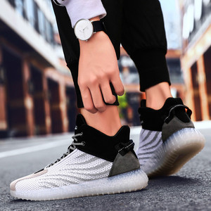Image 3 - Fashion mens casual shoes flying woven breathable non slip shoes outdoor wear high shoes Zapatillas Hombre landing transport