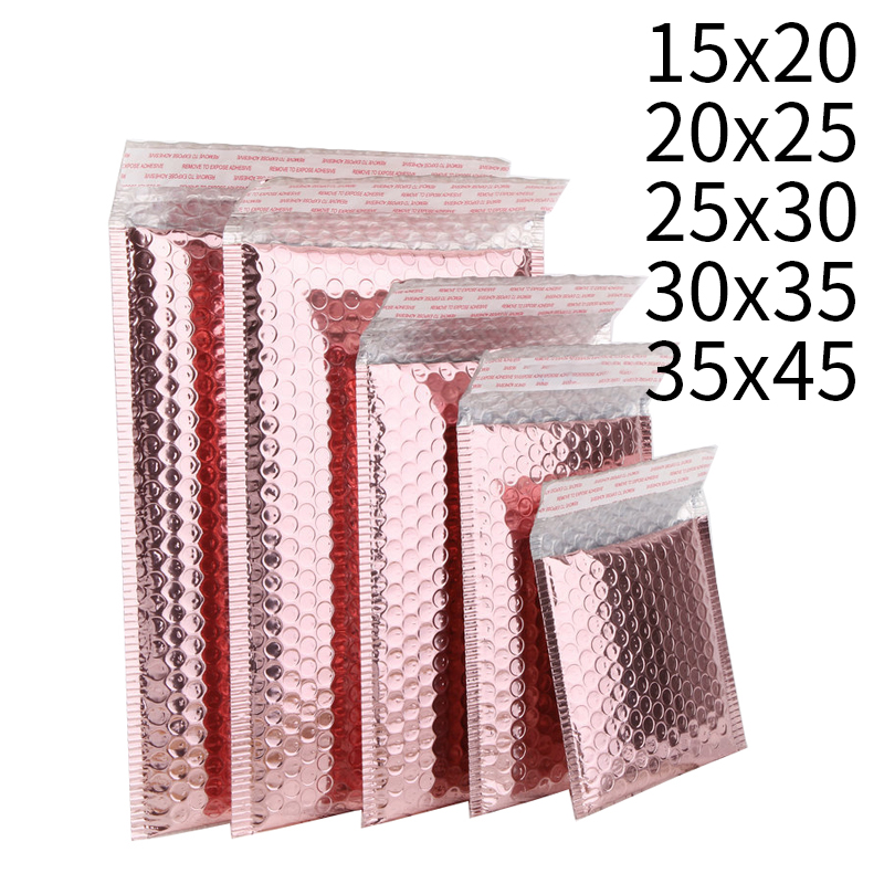 15/20/25/30/35/45CM Rose Gold  Foam Envelope Bag  Mailers Padded Shipping Envelope With Bubble Mailing Bag Gift Packaging