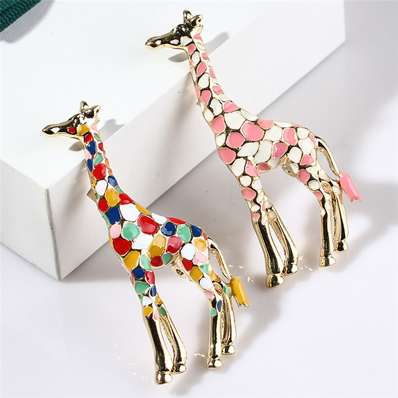 Brooches Jewelry Giraffe Enamel Gift Gold-Color Cute Women Animal for Pin Fashion Exquisite