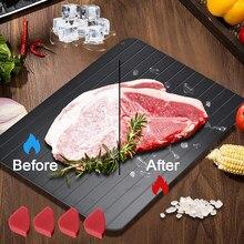Alta qualidade bandeja de descongelação rápida descongelação de alimentos congelados placa mágica carne descongelar placa bandeja esteira com capa ferramentas de cozinha