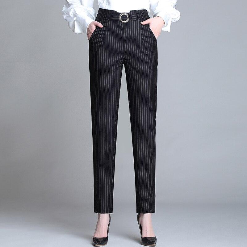 Plus Size 5XL Spring Winter Women Ankle-Length Harem Pants Elastic Waist  Female Pencil Pants Casual Trousers Black Stripes