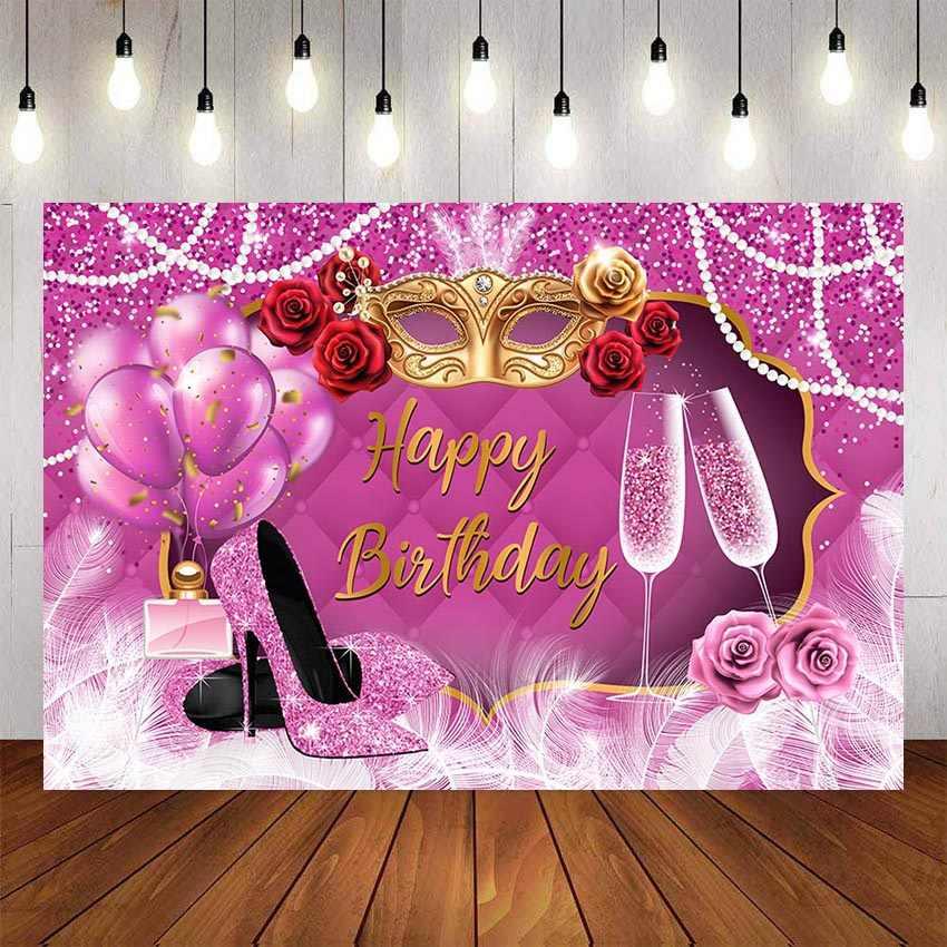 Mehofond Fotografie Achtergrond Zoete Roze Hoge Hakken Champagne Volwassenen Vrouwen Verjaardagsfeestje Photophone Achtergrond Fotostudio