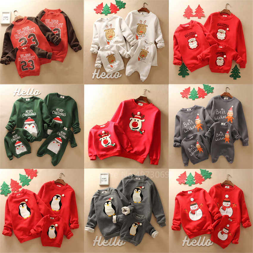 Family Christmas Sweaters 2020 News Cartoon Xmas New Year Deer Santa Claus Family Look Baby Girl Boy Clothes Mother and Daughter