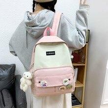 Kawaii 4 Piece Set School Bags For Teenage Girls 2021 Canvas Travel Bagpack Women Bookbags Student Schoolbag Back Pack Mochila