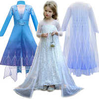 Meninas elsa elza princesa vestido crianças vestido de cristal manto roupas crianças neve rainha 2 festa de aniversário natal cosplay traje