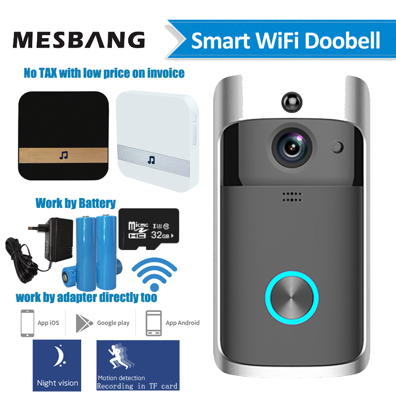 Wifi Video Doorbell Wireless Door Intercom Camera Battery Power Smart Door Bell Phone Calling With Chime TF Card Free Shipping