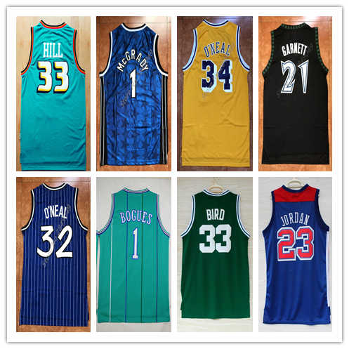 Mens #1 Tracy McGrady #33 Grant Hill Larry Bird #23 Michael Jordan 32 Shaquille O'Neal Kevin Garnet Throwback Basketball Jersey