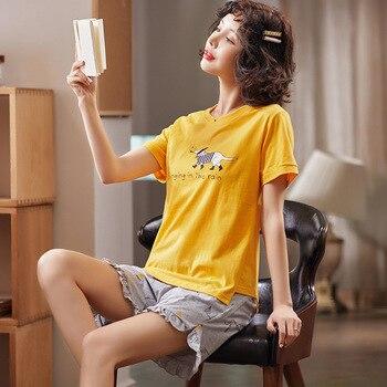 Simple Sleepwear Pyjamas Womens Pajamas Cotton Short Sleeve Ladies Pijama Sets Homewear Cute Cartoon Lounge Wear T-shits