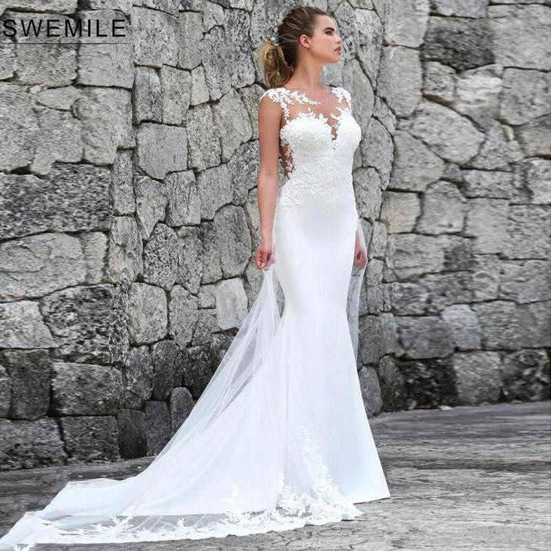 Romantic Lace Mermaid Wedding Dresses With Tulle Train Sexy Illusion Back Bride Dress Custom Make Wedding Gowns Vestido De Noiva