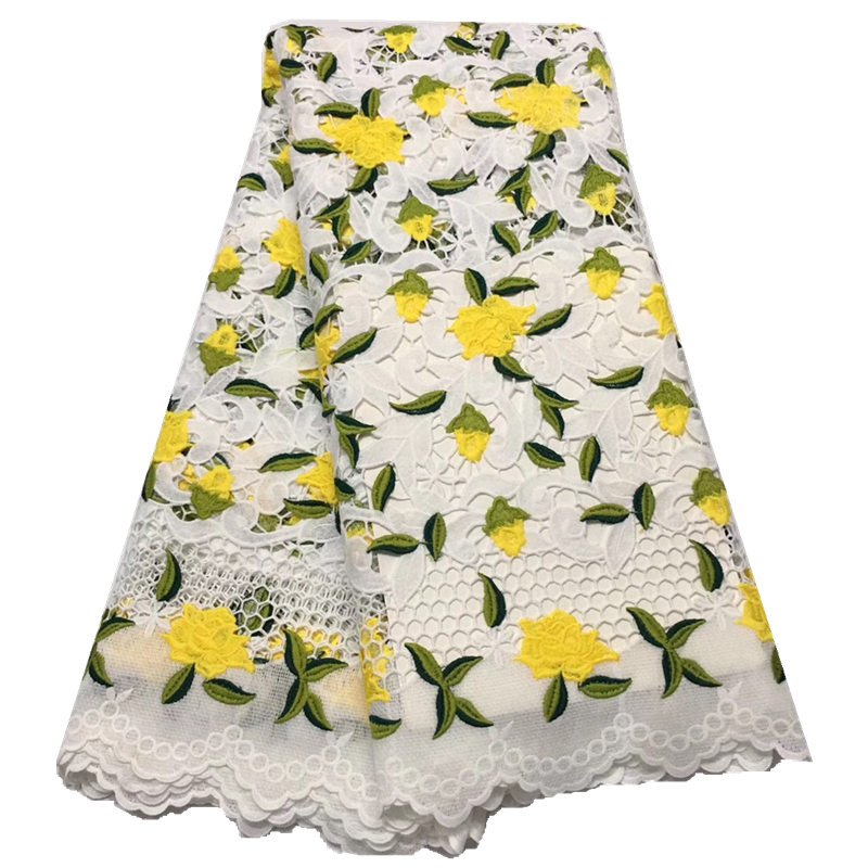 2019 lace fabric African cord lace fabrc in white and yellow guipure lace latest Nigerian Laces
