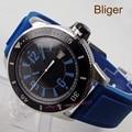 Bliger 43 мм Miyota автоматические мужские часы черный циферблат Синий Светящиеся знаки поворотный ободок резиновый ремешок