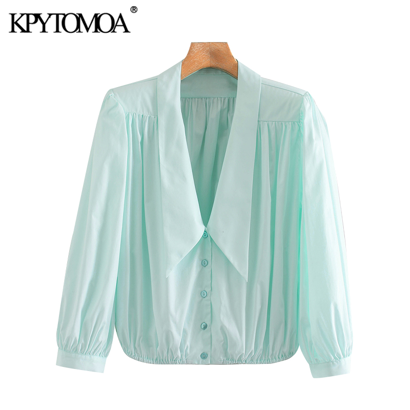 KPYTOMOA Women 2020 Elegant Fashion Office Wear Loose Blouses Vintage V Neck Long Sleeve Female Shirts Blusas Chic Tops