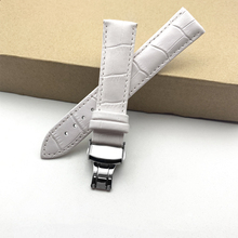 Vintage Genuine leather bracelet White watch strap Butterfly Clasp watchband 12 13 14 15 16 17 18 19 20 21 22 24mm watch band zlimsn south america genuine crocodile leather watch band 14 16 17 18 19 20 21 22 23 24mm suitable for omega longines watchband