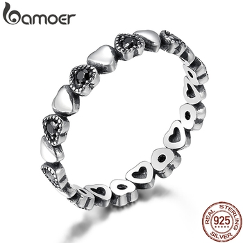BAMOER Genuine 925 Sterling Silver Stackable Ring Heart Black CZ Finger Rings for Women Wedding Anniversary Jewelry Anel SCR140 1