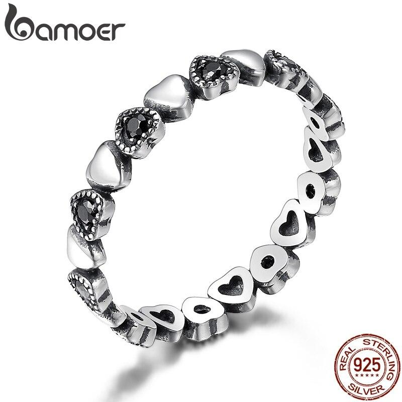 BAMOER אמיתי 925 כסף סטרלינג Stackable טבעת לב שחור CZ אצבע טבעות לנשים יום נישואים תכשיטי אנל SCR140