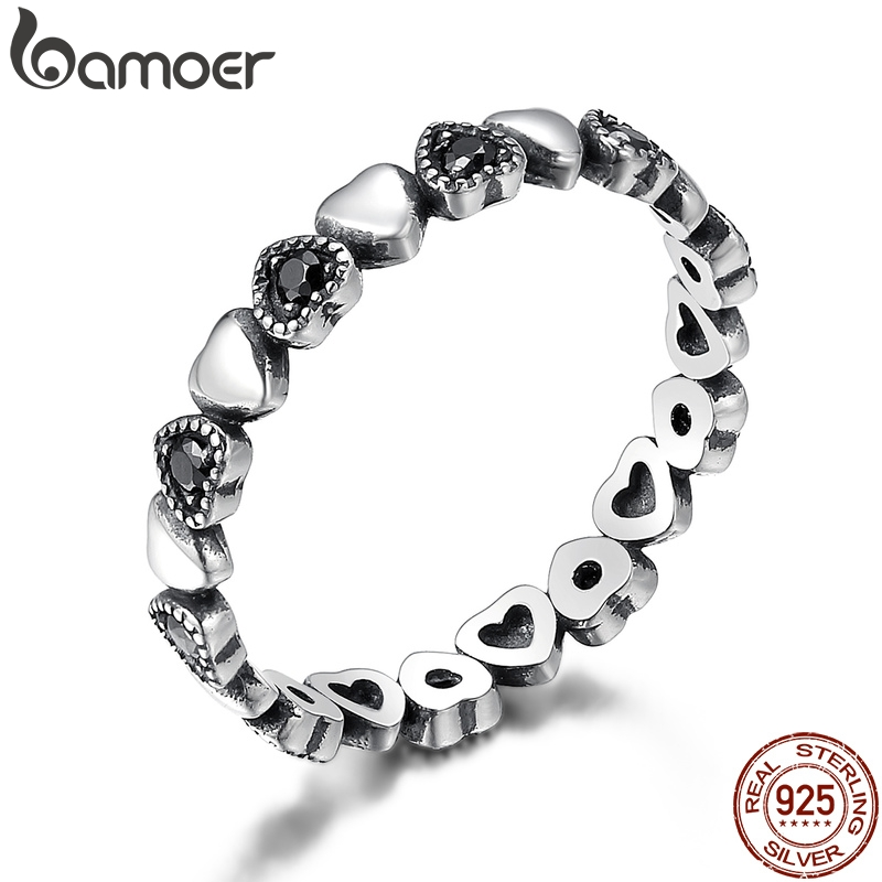BAMOER Genuine 925 Sterling Silver Stackable Ring Heart Black CZ Finger Rings For Women Wedding Anniversary Jewelry Anel SCR140