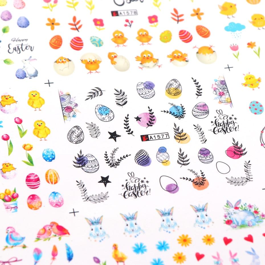 Egg Chick Birds Pattern Nail Art Stickers