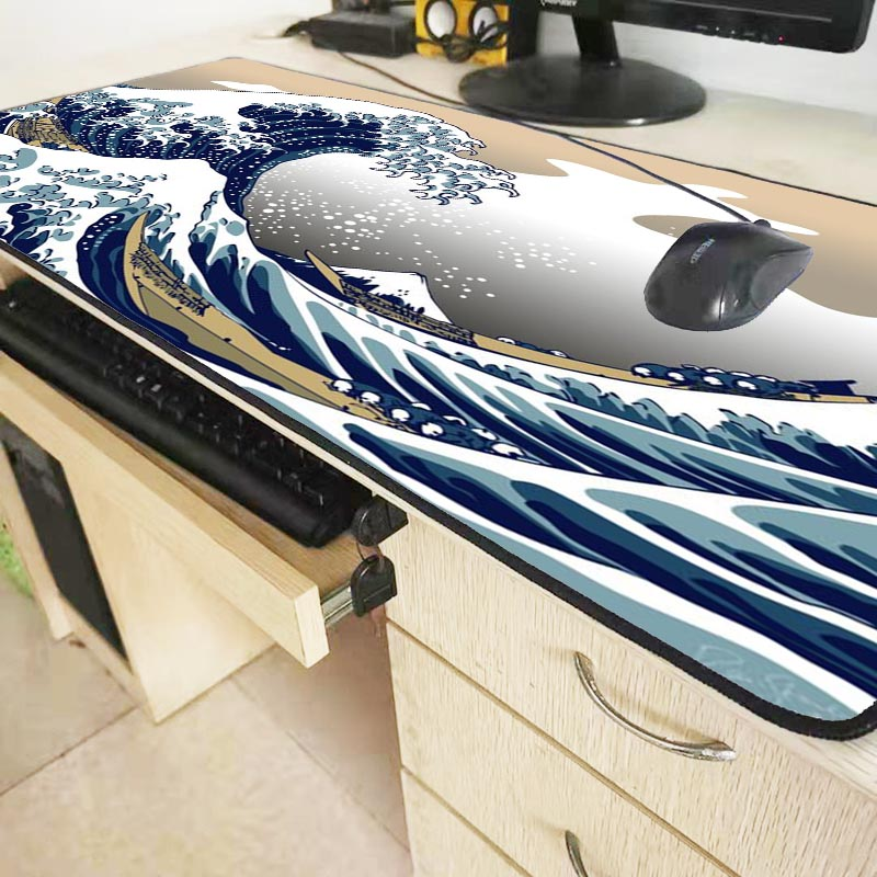 Mairuige Great Wave Off Art  Large Size Mouse Pad Natural Rubber PC Computer Gaming Mousepad Desk Mat Locking Edge for CS GO LOL 1