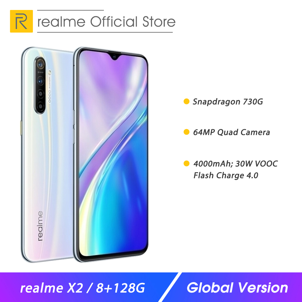 Global Version Realme X2 8GB RAM 128GB Moblie Phone Snapdragon 730G 64MP Quad Camera 6.4
