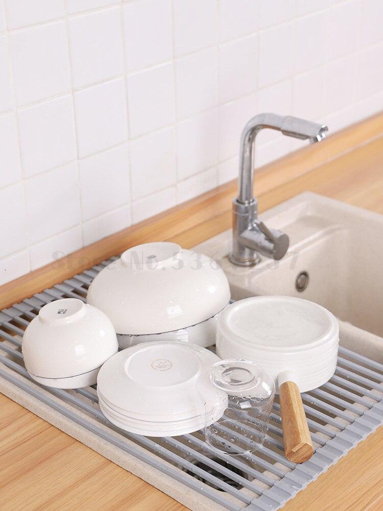 Support de vidange en Silicone radeau d'eau évier en plastique dégoulinant pliable égouttoir à vaisselle solide tige intérieure enveloppé de silicone ne rouille pas